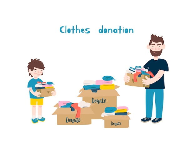 Padre e figlio che tengono scatole di cartone con vestiti da donare o riciclare.