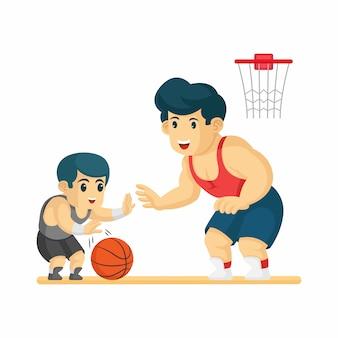 Padre e figlio giocano a basket insieme. felice festa del papà illustrazione
