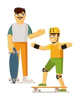 Padre e figlio su skateboard