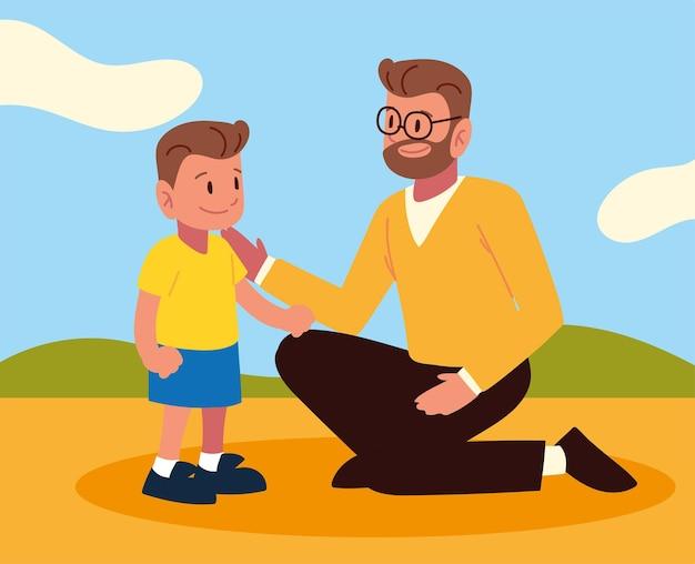 Padre figlio insieme nel parco