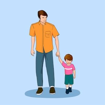 Padre e figlio che camminano insieme illustrazione