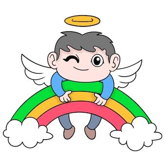 Lo spirito del padre è volato in paradiso, illustrazione vettoriale. scarabocchiare icona immagine kawaii.