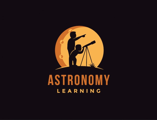Padre e sole utilizzando il modello logo telescopio