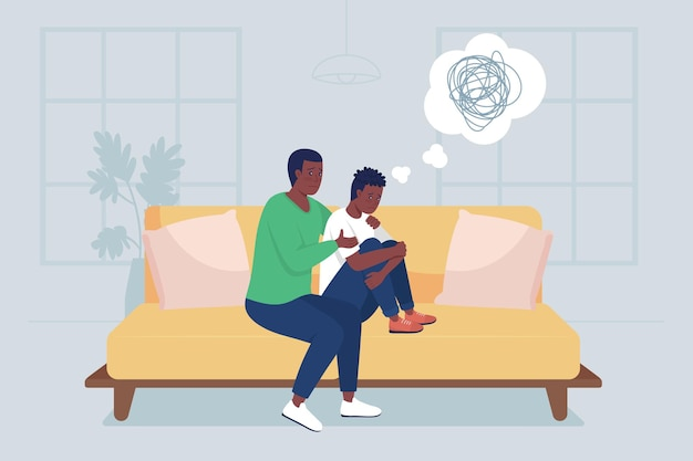 Illustrazione a colori piatta del figlio adolescente di supporto del padre. problemi di salute mentale