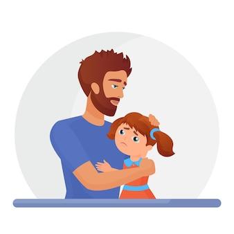 Padre che sostiene figlia triste