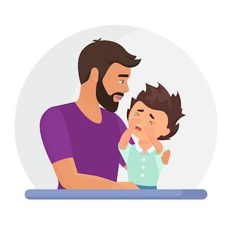 Padre che sostiene figlio triste. disturbo mentale, concetto di psicoterapia