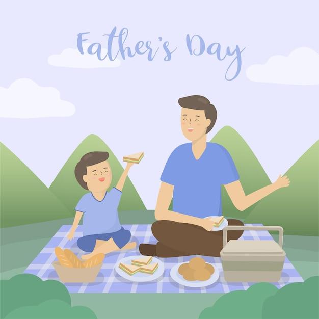 Il padre porta suo figlio in campeggio per la festa del papà, dove parlano, fanno festa e vanno in vacanza
