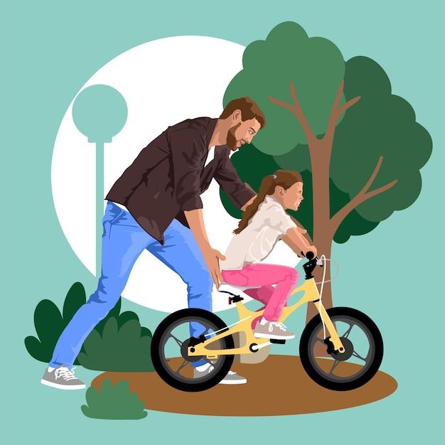 Il padre insegna alla figlia ad andare in bicicletta illustrazione vettoriale dettagliata con elementi piatti
