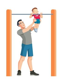 Il padre insegna a suo figlio lo sport
