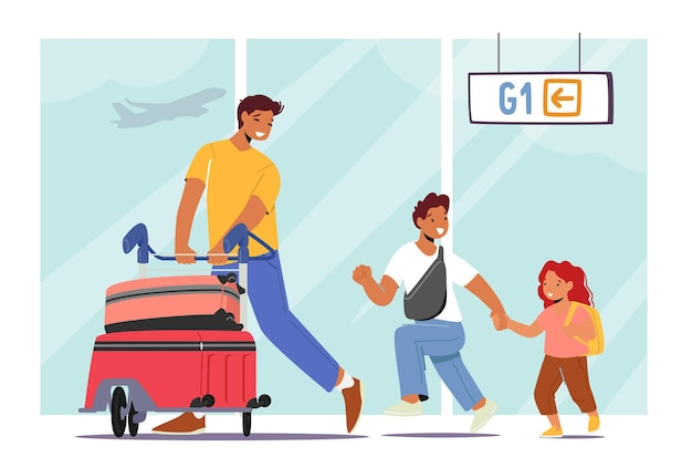 Padre in viaggio con i personaggi di piccola figlia e figlio. giovane con bambini che spingono il carrello con le valigie