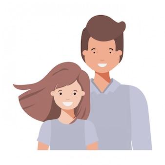 Padre con la figlia sorridente personaggio avatar