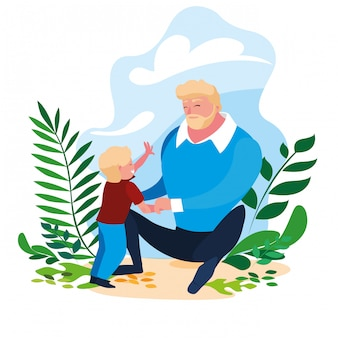Padre con figlio in scena della natura