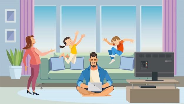Concetto di vettore del fumetto del padre di lavoro a casa
