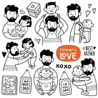 Attività della paternità come tenere in braccio un bambino che gioca con la figlia che cavalca sulle spalle, ecc