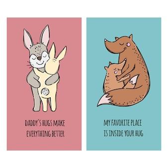 Bandiere del giorno del padre. padri lepri e volpe che abbracciano i loro figli. insieme dell'illustrazione degli animali del fumetto disegnato a mano di relazione genitoriale
