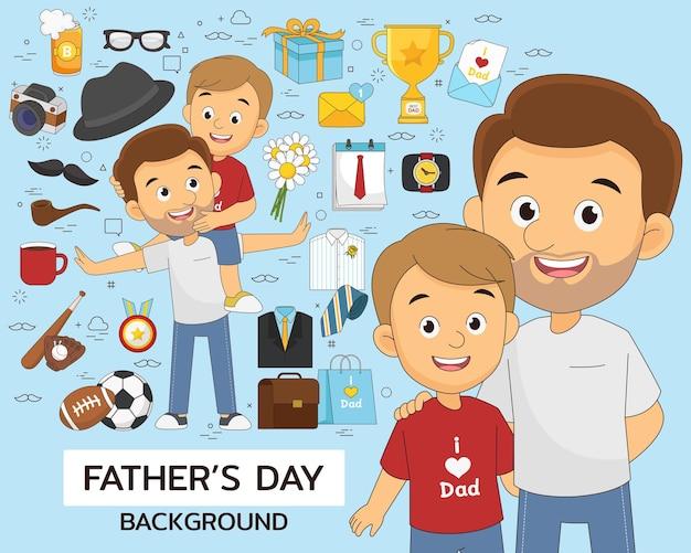 Icone piane di concetto di festa del papà