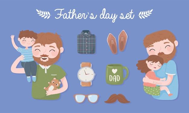 Insieme di giorno di padri