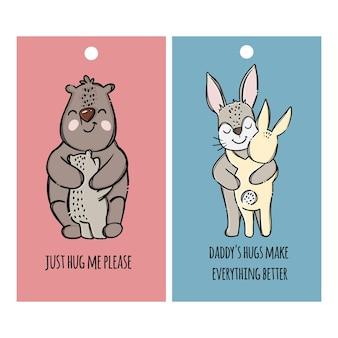 Etichette del giorno del padre padri orso e lepre che abbracciano i loro figli. insieme dell'illustrazione degli animali del fumetto disegnato a mano di relazione genitoriale