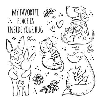 Padri mamme giorno animali carini monocromatici abbracciano i loro figli parentale relazione grafia testo disegnato a mano