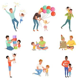 Padri che giocano e si godono del tempo di buona qualità con i loro bambini felici insieme