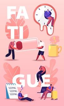 Illustrazione di fatica. personaggi minuscoli in un'enorme tazza di caffè, orologi liquidi di salvador dalì, batteria scarica e foglio con scrittura del sonno