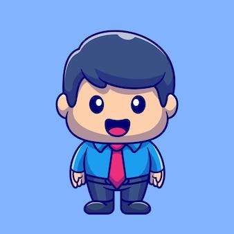 Illustrazione dell'icona di vettore del fumetto dell'impiegato maschio grasso. persone professione icona concetto isolato vettore premium. stile cartone animato piatto