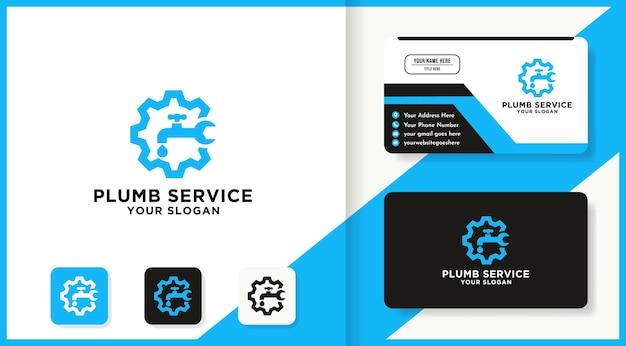 Design del logo e del biglietto da visita della combinazione dello strumento dell'ingranaggio del rubinetto