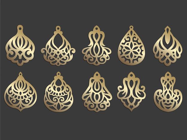Design orecchino in ecopelle. modello di gioielli con taglio laser. ciondolo ornato.