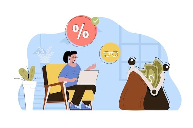 Sconti favorevoli concetto donna che acquista online ai migliori prezzi in vendita