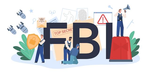 Intestazione tipografica dell'fbi con agente di polizia o ispettore che indaga sul crimine