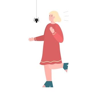 Donna timorosa spaventata dal ragno, fumetto piatto vettoriale illustrazione isolato su sfondo bianco. donna spaventata spaventata con aracnofobia o paura irrazionale del ragno.