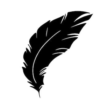 Piuma di uccelli sagoma di piuma nera per il set di vettore del logo