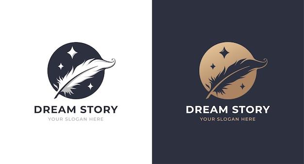 Cerchio di piume con design del logo a stella