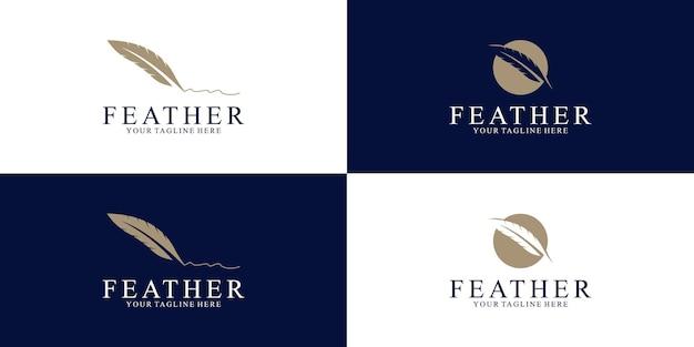 Ispirazione per il design del logo della piuma per la legge e gli affari
