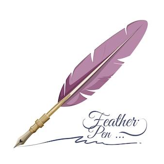 Strumento per scrivere con penna a piuma realizzato con piume di uccello. strumento di scrittura in stile retrò isolato su bianco. firma fatta da antico oggetto di disegno