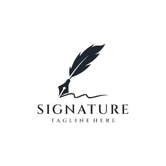 Piuma silhouette inchiostro logo design ispirazione.
