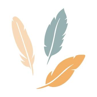 Piume dell'icona dell'uccello impostata in sagoma isolata su priorità bassa bianca. illustrazione di vettore di logo piatto collezione boho. stencil design per biglietto di auguri, invito, banner.