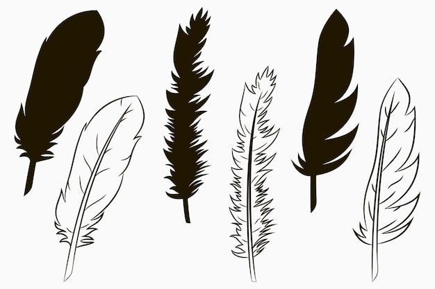 Piume di uccelli. set di piume di silhouette e linea disegnata. illustrazione vettoriale.