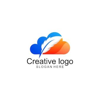 Disegno del logo nuvola di piume