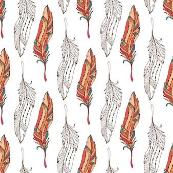 Piume senza soluzione di continuità in stile boho. modello di ornamento doodle etnico con piume vettore.