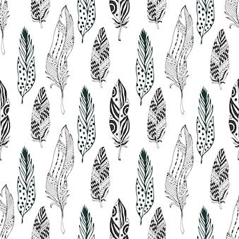 Piume senza soluzione di continuità in stile etnico. disegno a mano disegnato a zentangle doodle ornamento modello con piuma vettoriale