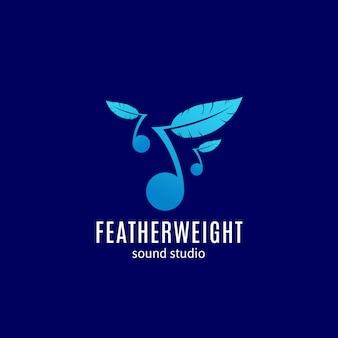 Featherweight sound studio, emblema o modello di logo. nota con silhouette di piume. simbolo creativo facile da ascoltare.