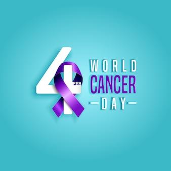 Febbraio giornata mondiale contro il cancro con nastro viola di consapevolezza