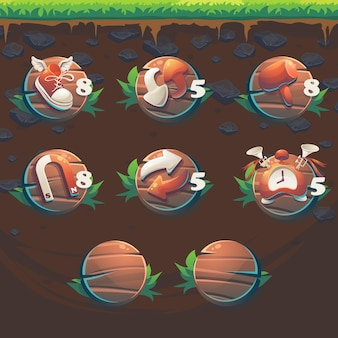 Alimenta i booster dell'interfaccia utente del gioco match 3 della gui della volpe