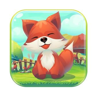 Nutri l'illustrazione stilizzata del fumetto dell'icona della corrispondenza 3 della gui della volpe