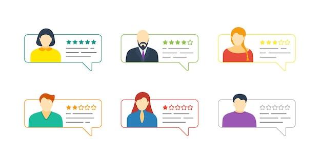 Bolla di discorso di contorno chat di feedback con avatar maschili e femminili. valutazione delle recensioni online a cinque stelle con raccolta di valutazioni positive e negative. concetto di illustrazione di valutazione della qualità vettoriale