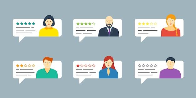 Fumetto di chat di feedback con set di avatar maschili e femminili. rivedere la valutazione a cinque stelle del sistema di qualità con raccolta di tassi di testimonianze positive e negative. concetto dell'illustrazione di valutazione del voto di valutazione di vettore