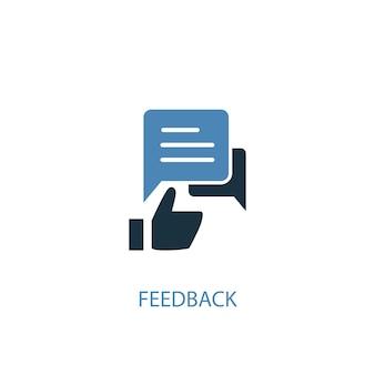 Concetto di feedback 2 icona colorata. illustrazione semplice dell'elemento blu. disegno di simbolo del concetto di feedback. può essere utilizzato per ui/ux mobile e web