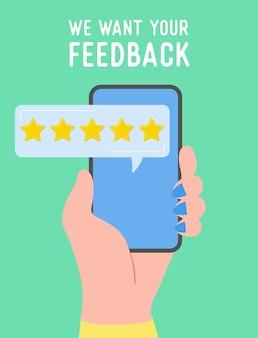 Illustrazione del concetto di feedback. persone in possesso di telefono e servizio tariffario, esperienza utente. giudizio positivo a cinque stelle, buona recensione. cartone animato