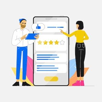 Concetto di feedback con recensione utente e valutazione con app telefono per la soddisfazione del cliente